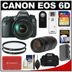 Canon EOS 6D Digital SLR Camera Body with EF 24-105mm L IS USM Lens with EF 75-300mm III Lens + 32GB Card + Battery + Canon Case + Filters + Remote + Accessory Kit by Canon. $2899.00. Kit includes:♦ 1) Canon EOS 6D Digital SLR Camera Body with EF 24-105mm L IS USM Lens♦ 2) Canon EF 75-300mm f/4-5.6 III Zoom Lens♦ 3) Canon 2400 Digital SLR Camera Case - Gadget Bag♦ 4) Transcend 32GB SecureDigital Class 10 (SDHC) Ultra-High-Speed Card♦ 5) Spare LP-E6 Bat...