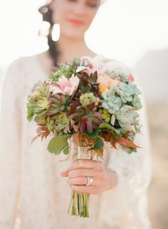 #succulents #bouquet  Photography by gabyjphotography.com  Floral Design by idoweddingflowers.net/i_do_wedding_flowers/Welcome.html  Stationery by paperandhome.com    Read more - http://www.stylemepretty.com/2013/06/14/las-vegas-engagement-session-from-gaby-j-photography/