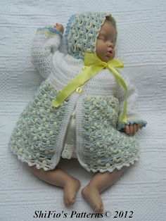 Baby Crochet Pattern Matinee Jacket Bonnet Crochet by shifio, $2.50