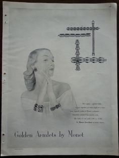 1947 Golden Armlets Bracelets by MONET JEWELRY Original Ad | eBay