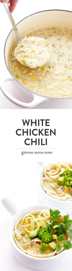 This 30-Minute Creamy White Chicken Chili recipe is easy to make, and full of the most delicious, comforting flavors! | http://gimmesomeoven.com