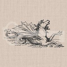 Vintage Seahorse Graphic Digital Download Image by TanglesGraphics, $1.00
