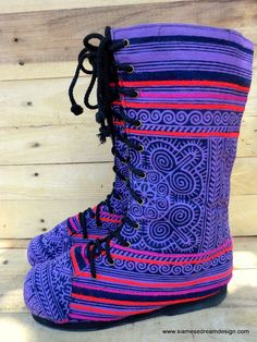 Womens Combat Boots Ethnic Hmong Purple Batik