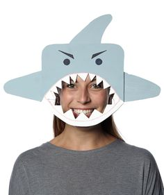 There's no excuse for not dressing up this October. These clever, simple masks are all you need for a costume—just wear your regular clothes and you'll be set for a festive gathering or trick-or-treating.Crafts developed by Morgan Levine Diy Shark Costume, Fish Costume, Shark Costumes, Easy Diy Costumes, Last Minute Halloween Costumes, Costume Ideas, Masque Halloween, Halloween Kostüm, Homemade Halloween
