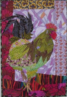 Quilt by Ruth McDowell, 'Rooster'. I love how she can make ordinary fabrics come to life!