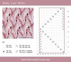 Saved to Best Lace Knitting Lace Knitting Stitches, Lace Knitting Patterns, Knitting Charts, Easy Knitting, Loom Knitting, Embroidery Patterns, Stitch Patterns, Garter Stitch, Knitting Projects