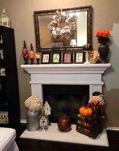 Fireplace Fall decor - I like the frames with FALL Elegant Home Decor, Fall Home Decor, Autumn Home, Living Room Decor For Thanksgiving, Fall Fireplace Decor, Fall Mantel Decorations, Kitchen Decorations, Thanksgiving Decorations, Christmas Decorations