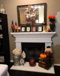 Fireplace Fall decor - I like the frames with FALL