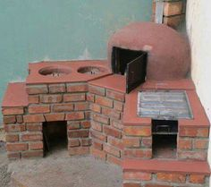 Outdoor Stove, Pizza Oven Outdoor, Outdoor Cooking, Fire Pit Oven, Barbecue Four A Pizza, Outdoor Kocher, Rustic Bathroom Designs, Cooking Stove, Kitchen Stove