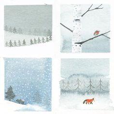 Happy Everything Christmas Cards Handmade Envelopes Moody