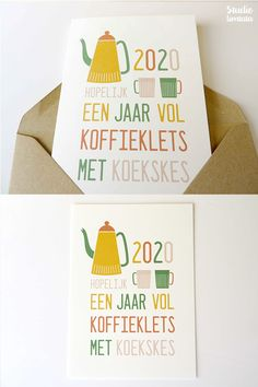 2020 Christmas card for coffee lovers By Studio Umtata Kerstkaart voor koffieliefhebbers Christmas Diy, Christmas Cards, Christmas Decorations, Xmas, Confectionery, Color Card, Kids Cards, Yummy Cakes, Greeting Cards