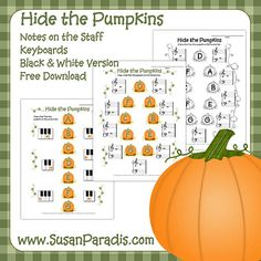 Hide the Pumpkins Keyboard Worksheet - identify  piano keys Hide the Pumpkins On the Staff - review the notes around middle C Hide the Pumpkins Black & White - for teachers without color printe...