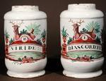 Delft pharmaceutical vases for viridium and disacordium (faience)