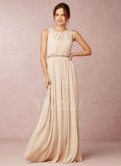 Bridesmaid Dresses - $117.92 - A-Line/Princess Scoop Neck Sweep Train Chiffon Bridesmaid Dress With Ruffle (0075059687)