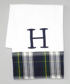 Look at this Caught Ya Lookin' Yellow & Green Plaid Initial Burp Cloth on #zulily today!