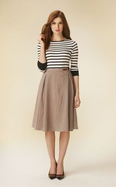 striped long sleeve with skirt