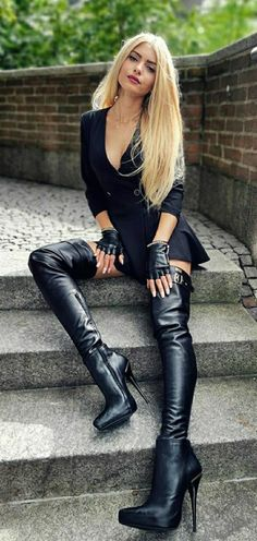 Black High Boots, Thigh High Boots, High Heel Boots, Heeled Boots, Latex Boots, Leather Over The Knee Boots, Sexy Boots, Summer Fashion Outfits, Belle Photo