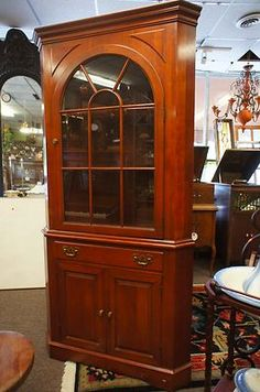 Elegant Cherry Corner China Cabinet