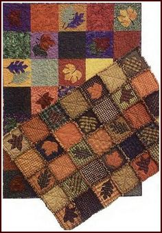Fall themed rag quilt  I love this, and I am such a sucker for anything with leaves on it, wouldn't this be a pretty bedspread design?????