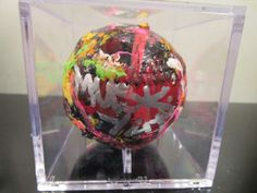 hand painted abstract baseball in case by artist musk yai signed 2016