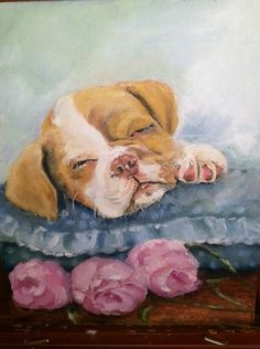 Puppy Dog with Roses  Oil Portrait Painting  by PaintingsByMargie
