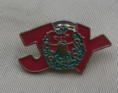 Vintage Christmas JOY Wreath Pin, Metal with Enamel, Tie Tack, Lapel Pin, Tiny Brooch http://etsy.me/2DMNnoI #jewelry #brooch #gold #christmas #red #pin #holiday #teamwwes #winter #joy #vintageChristmas #brooch #pin #etsysellsvintage #vintageshop #shopping #forsale