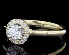Rose Gold Halo Engagement Ring HD036
