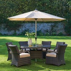 Clovelly - Round Table, 6 Chairs & Parasol | Garden Furniture | Outdoor Furniture | Barker and Stonehouse