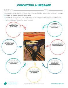 Conveying a Message - FLEX Resource - Teaching Middle School Art Projects, Art School, Art History Lessons, Art Lessons, Art Analysis, Art Doodle, Art Critique, Art Handouts, Art Criticism