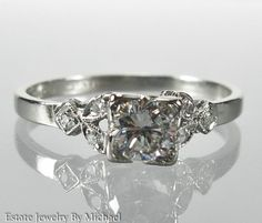 Art Deco Platinum .56ctw G-SI1 Genuine Diamond Wedding Engagement Ring Size 7.25 #SolitairewithAccents