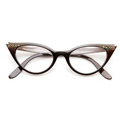 89956a0a67 Vintage Cateyes 80s Inspired Fashion Clear Lens Cat Eye Glasses with  Rhinestones