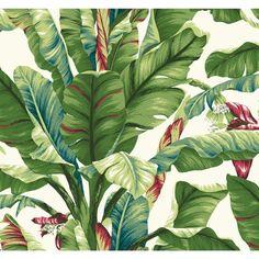 Tropics Banana Leaf Wallpaper, White/Grey Green/Light Yellow/Green To Dark Green/Blue/Blue/Red
