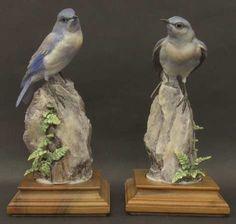 Mountain Bluebirds & Spleenwort'.Royal Worchester Dorothy Doughty