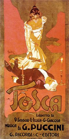 "Original poster for Puccini's opera ""Tosca"""