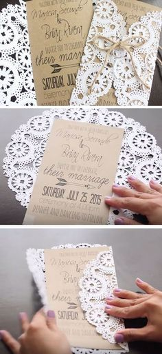DIY Rustic Wedding Invitations. Doilies are available in lots of colors. So you can make these to match your wedding colors.