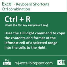 Raj Excel: Excel Shortcut Keys: Using Ctrl + R (Fill Right command to copy) Computer Help, Computer Internet, Computer Technology, Computer Programming, Computer Tips, Excel Tips, Excel Hacks, Microsoft Excel, Microsoft Office