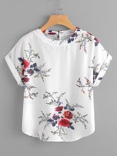 4ba1bd517da5bc Sheinside White Floral Embroidery Shirt Women Roll Up Sleeve Button Top  2018 Sum #fashion #clothing #shoes #accessories #womensclothing #t…