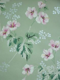 Jadeite Wallpaper Floral 1940s Shabby Cottage by SimplyCottageChic