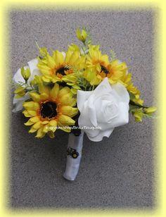 13 Piece John Deere Wedding Flowers, with White Roses. $253.00, via Etsy.
