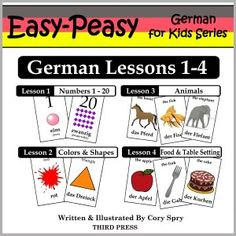 German Lessons 1-4: Numbers, Colors/Shapes, Animals & Food (Easy-Peasy German For Kids Series)