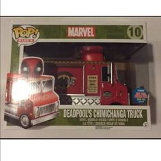 Funko pop marvel Deadpool chimichanga truck NYCC Item is an New York Comic Con Exclusive (3000 pcs). It is brand new, never opened and comes with a plastic protector. Item may have factory flaws due to imperfections. Feel free to view my pictures before purchasing. Accessories Deadpool Stuff, Chimichanga, Funko Pop Marvel, Bobble Head, Im Not Perfect, Flaws, Trucks, Plastic, York