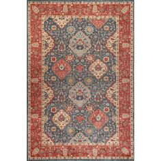 Mahal Navy and Red Rectangular: 5 Ft 1 In x 7 Ft 7 In Rug - (In Rectangular)