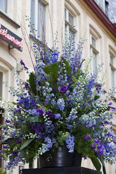 Gorgeous bouquet with blue field flowers. Blauw ton-sur-ton Gorgeous bouquet with blue field flowers. Arrangements Ikebana, Blue Flower Arrangements, Floral Centerpieces, Blue Wedding Flowers, Blue Flowers, Beautiful Flowers, Church Flowers, Funeral Flowers, Grands Pots
