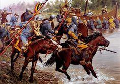 Carolingiens contre Vikings by Wayne Reynolds- 2) PEPIN II, ROI D'AQUITAINE: Au partage de Verdun, l'Aquitaine fut donnée à Charles le Chauve mais Pépin ayant continué la guerre et ayant essaya d'enlever Toulouse par un coup de main, Charles doit en 815, par un traité conclu à St Benoît sur Loire, lui abandonner la souveraineté dans le royaume méridional, en se réservant toutefois le comté de Poitiers, la Saintonge et l'Angoumois.