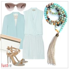 Necklace - Brown Pearls, Amazonite and Chalcedony beads with Champagne Duster