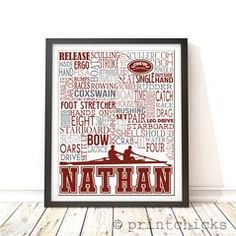 Custom rowing typography poster.Crew decorwith team's colors or team name. Perfect gift for coach, end-of-season team gift, senior gift or even for team captains. PRINT INFORMATION 1 (11 x 14,...