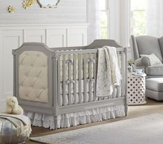 Find baby girl nursery ideas and more at Pottery Barn Kids. Prepare for your baby girl and shop our baby girl room inspiration. Pottery Barn Baby, Pottery Barn Nursery, Baby Nursery Furniture Sets, Nursery Bedding Sets, Crib Bedding, Nursery Ideas, Nursery Pictures, Tufted Crib, Furniture Dolly