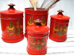 Red Kromex canisters pennsylvania dutch by southcentric on Etsy, $26.35