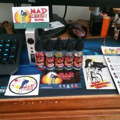 My first order of @madscientistvapor in about a year!!! So excited to finally drip these flavors!!!!!!! Lets go!!!! #vape #vapeon #vaping #MadScientistVapor #Sigelei150 #vapelife #SwirlyPop #EatAPeach #ElectricPunch #DarkerTheBerry #KatPerrysCherry #Padgram