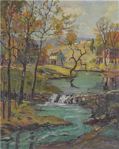 """""""Village on the Stream,"""" Fern Isabel Coppedge, oil on canvas, 20 x 16"""", private collection."""
